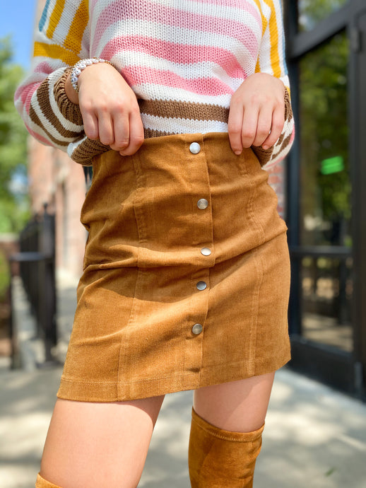 Rory Corduroy Button Down Skirt freeshipping - Belle Isabella Boutique