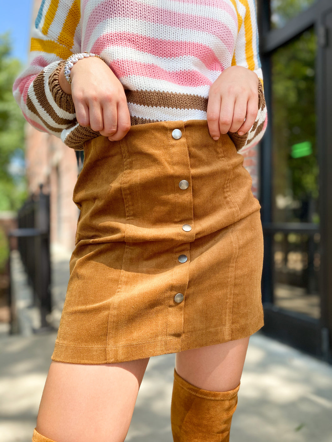 Rory Corduroy Button Down Skirt