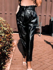 Olivia Black faux Leather Paperbag Pants freeshipping - Belle Isabella Boutique
