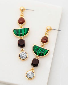 Emerald Green Linear Drop earrings