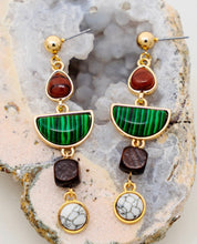 Load image into Gallery viewer, Emerald Green Linear Drop earrings