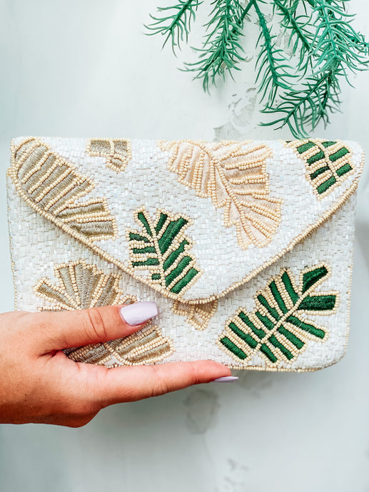 Palm Print Beaded Clutch | New Fashion Women Dresses, Swimwear, Shoes, and accessories online!