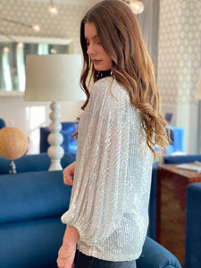 Hello 2021 Sequin Long Sleeves Top