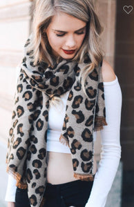 The Softest Reversible Leopard Scarf with Fringe freeshipping - Belle Isabella Boutique