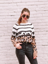 Load image into Gallery viewer, Leopard and Striped Sweater