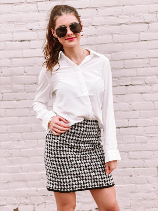 Amelie Houndstooth Skirt freeshipping - Belle Isabella Boutique