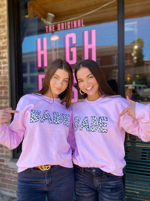 Babe Pink Sweatshirt freeshipping - Belle Isabella Boutique