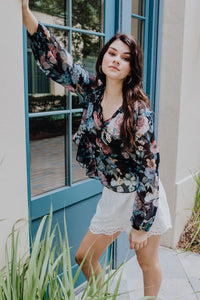 Let Your Dreams Blossom Black Floral Blouse | New Fashion Women Dresses, Swimwear, Shoes, and accessories online!