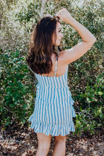 Load image into Gallery viewer, Seaside Cabana Linen Striped Bow-Tie Ruffled Dress freeshipping - Belle Isabella Boutique
