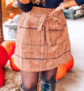 Autumn Latte Corduroy Skirt