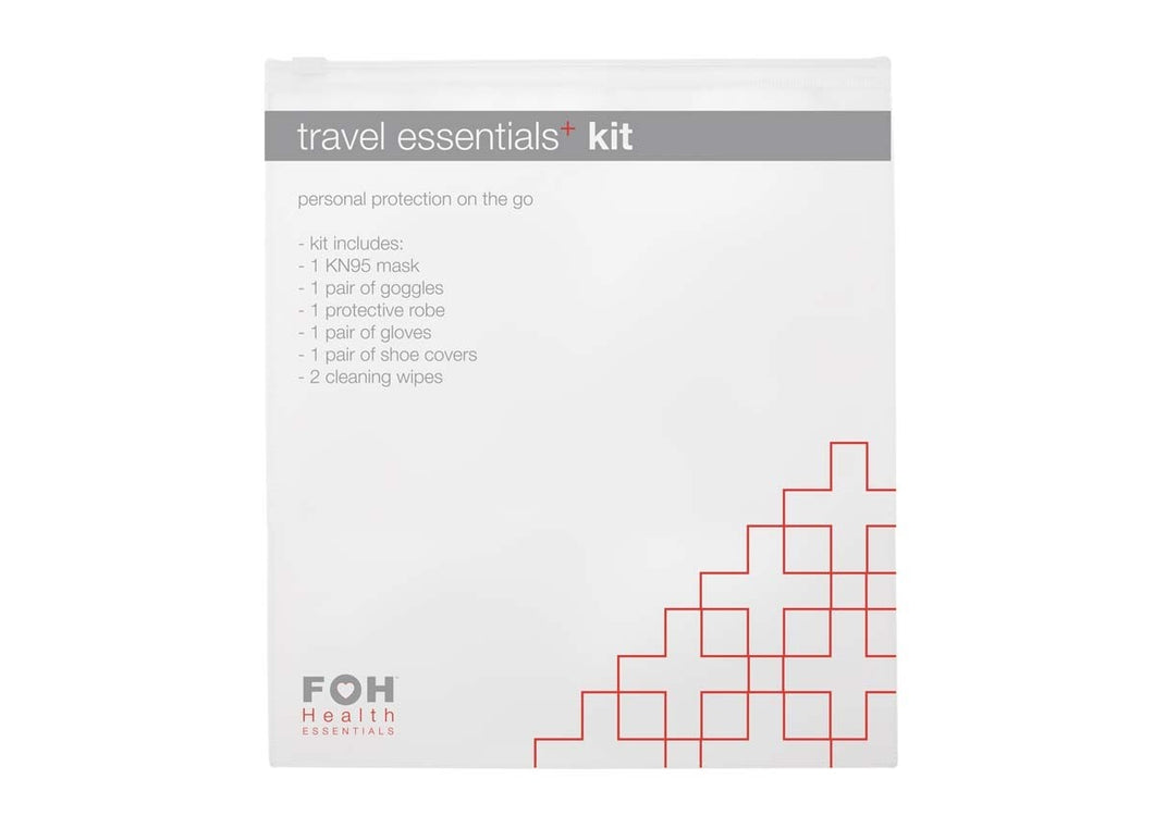 Travel Essentials+ Kit: Face Mask, Goggles, Protective Robe, Gloves, Shoe Cover, Wipes