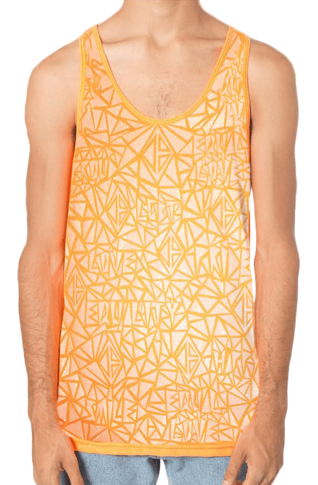 Glitter Mosaic Pride Tank - Neon Orange - Small