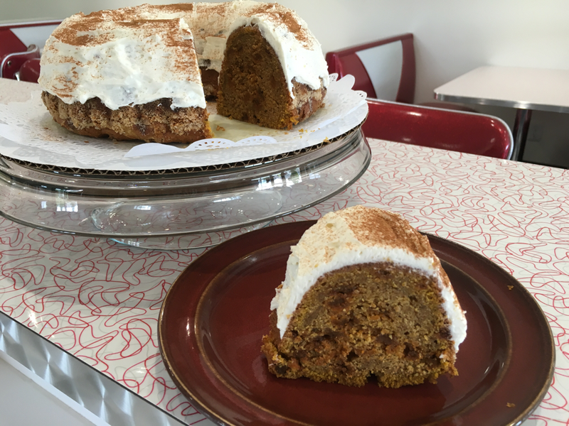 "Pumpkin Spice Cake 10"" - Topped with Cream Cheese Frosting"