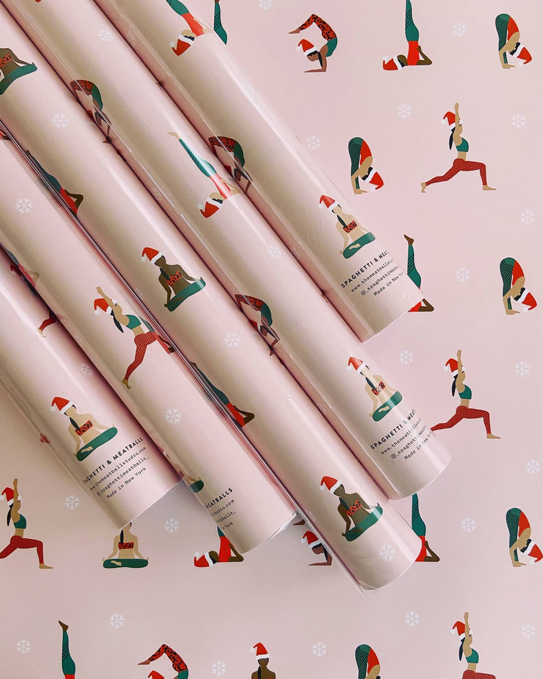 Pink Yoga Holiday Wrapping Paper