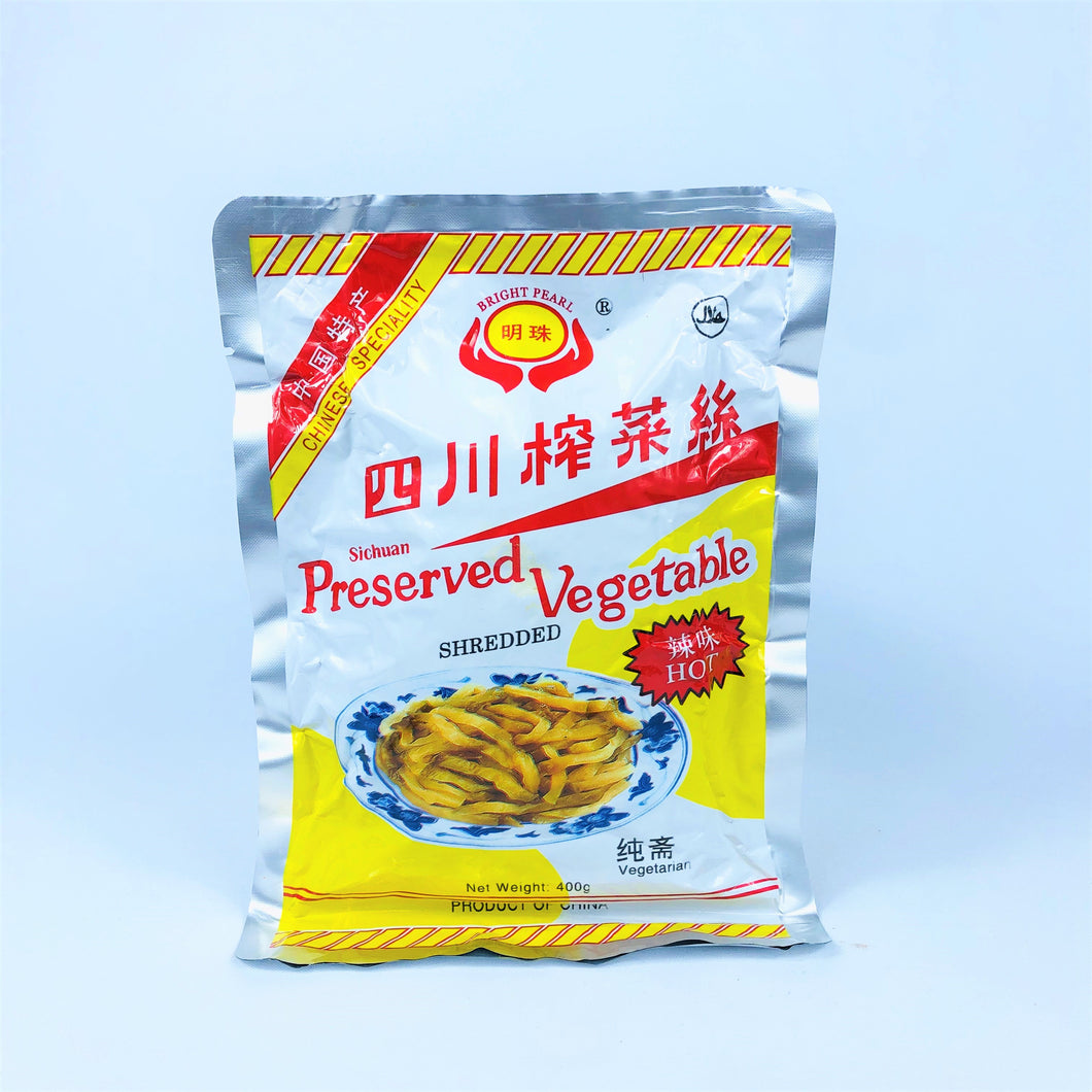 Bright Pearl Sichuan Shredded Preserved Vegetables (Hot Flavour), 400g