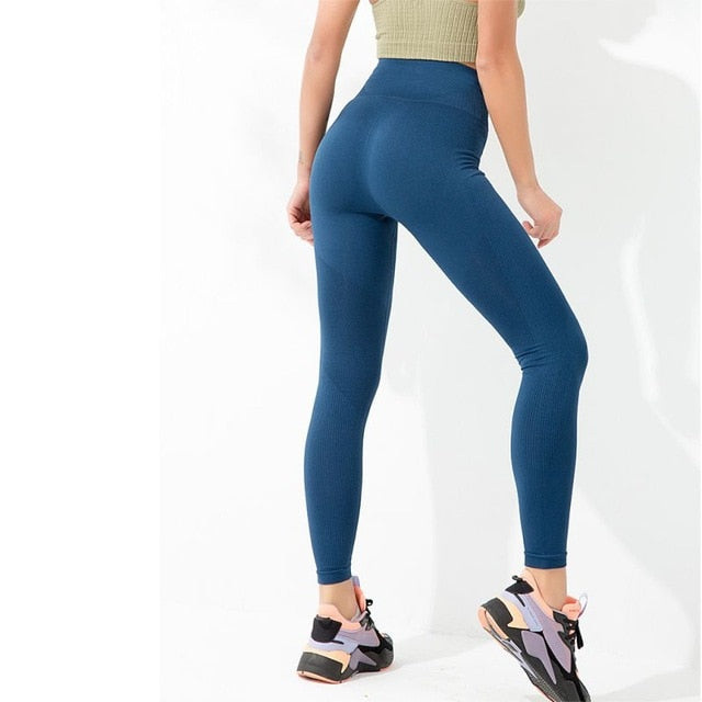 Elastic Seamless Slim-fit Leggings For Women High Waist