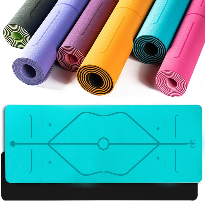 TPE Yoga Mat With Position Line Mats Double Layer