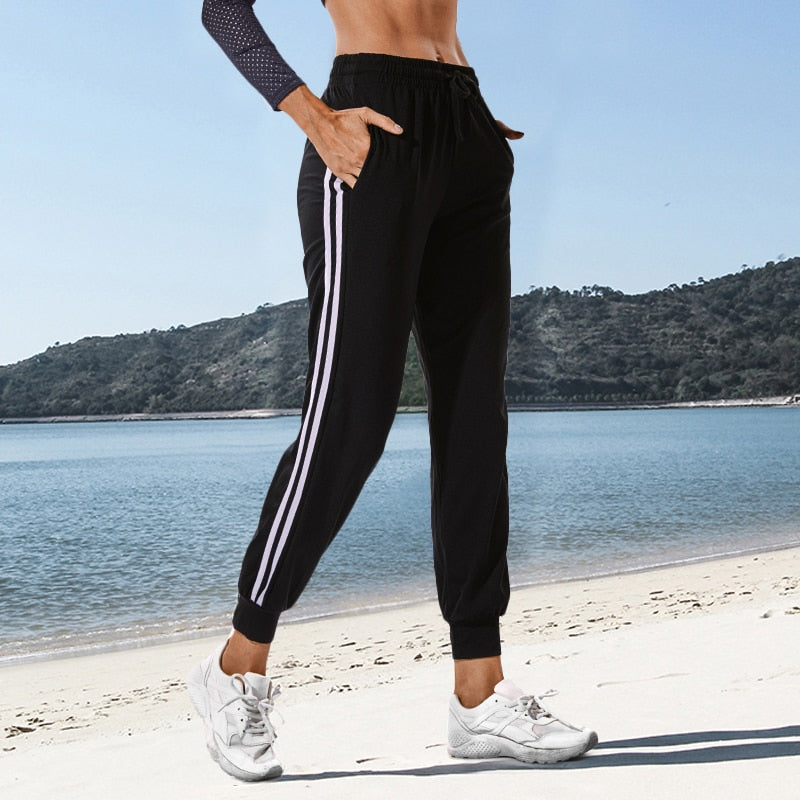 Black Women White Striped Yoga Pants For Running