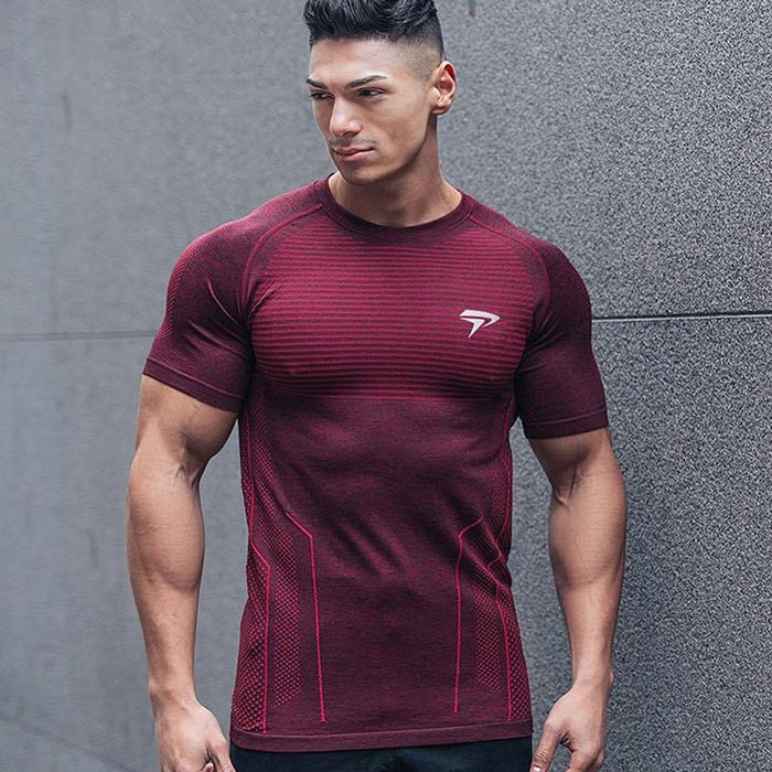 Men Short sleeve Quick dry Slim t shirt For Summer