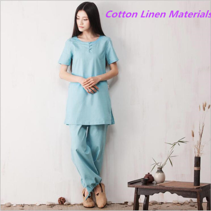 High Quality Cotton linen Kungfu Suits Top + Pants Exercise Clothing