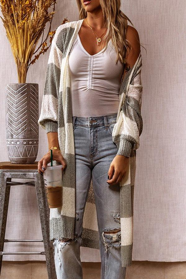 Striped contrast color extended sweater cardigan