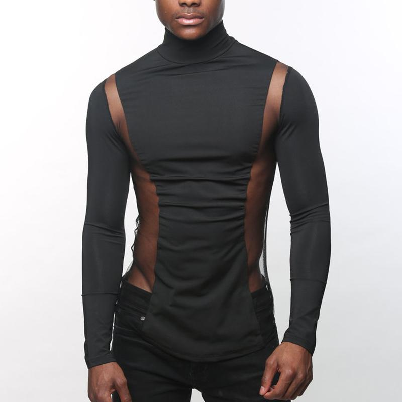 Turtleneck Solid Color Stitching See-through T-shirt