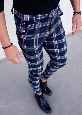 Chino Check Textured Slim Stretch Pants