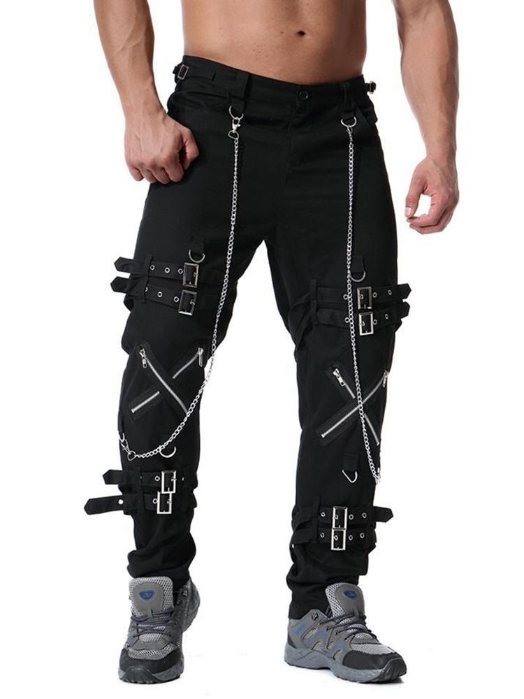 Men's personality metal decoration casual trousers