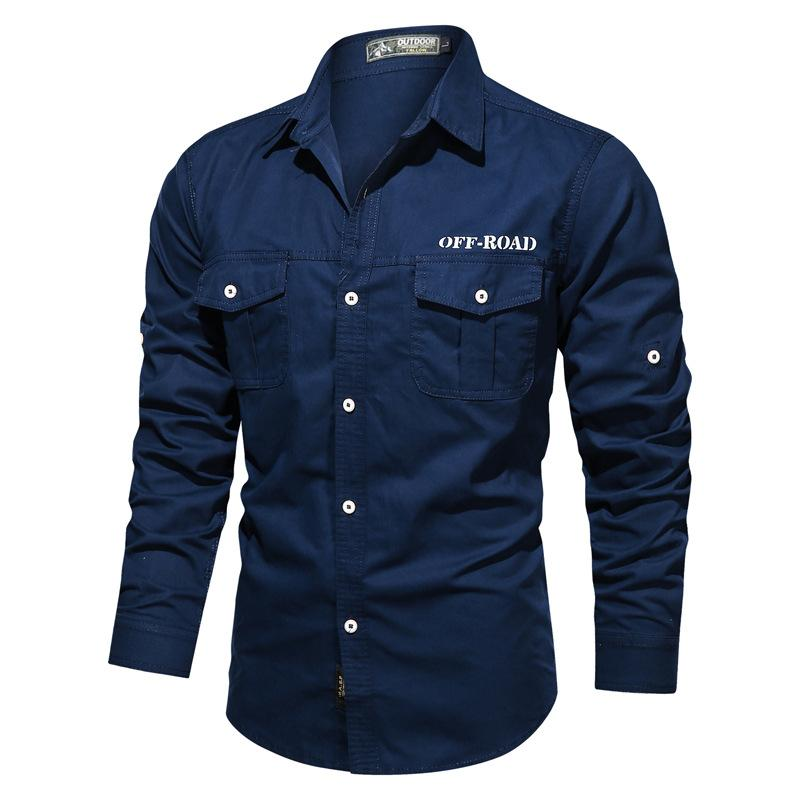 Mens Outdoor Retro Long Sleeve Military Shirt