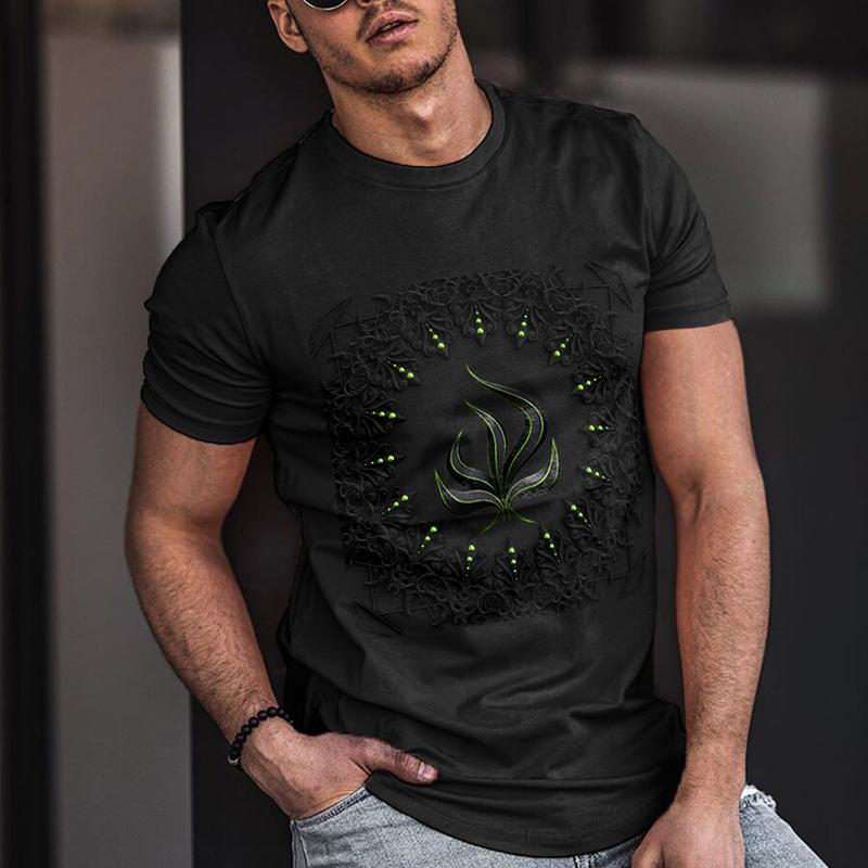 Men's Casual Round Neck Short Sleeve Print T-shirt