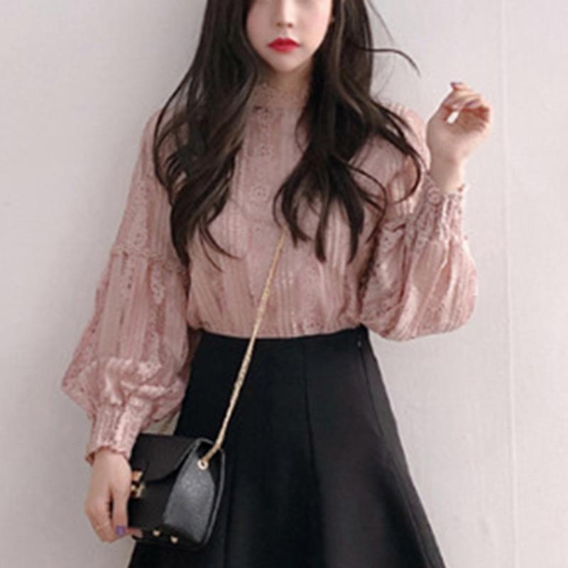 Retro Lace High Collar Sheer Long Puff Sleeves Shirts & Tops