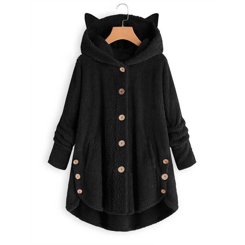 Plus Size Button Hooded Cat Ears Plush Coat