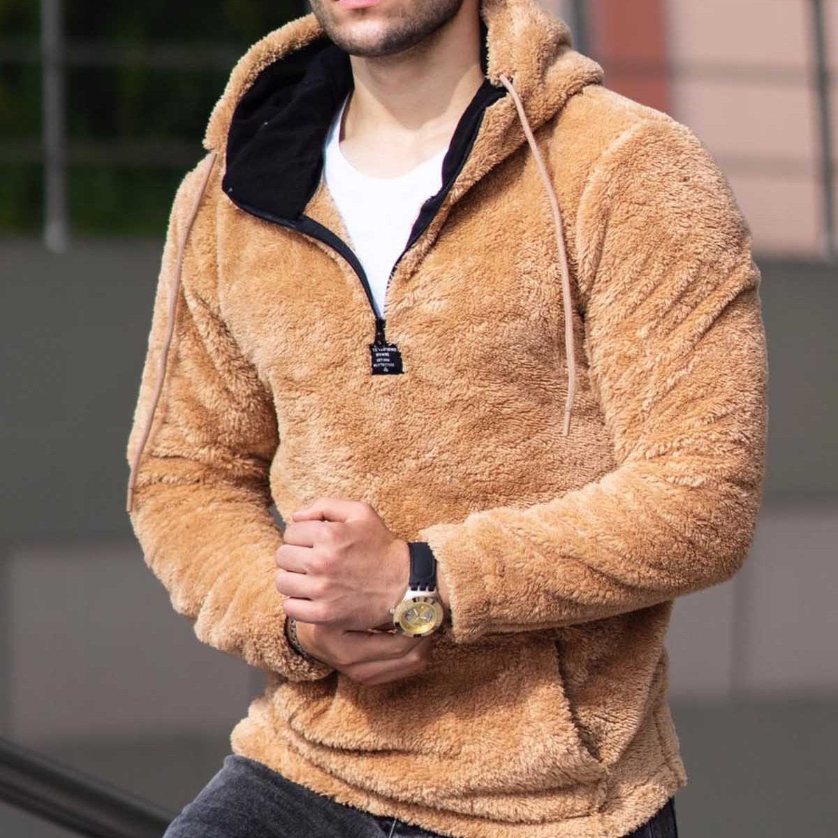 Casual solid color zipper plush hooded sweater