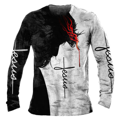 Men's Christian Printed Casual Men's Long Sleeve T-Shirt