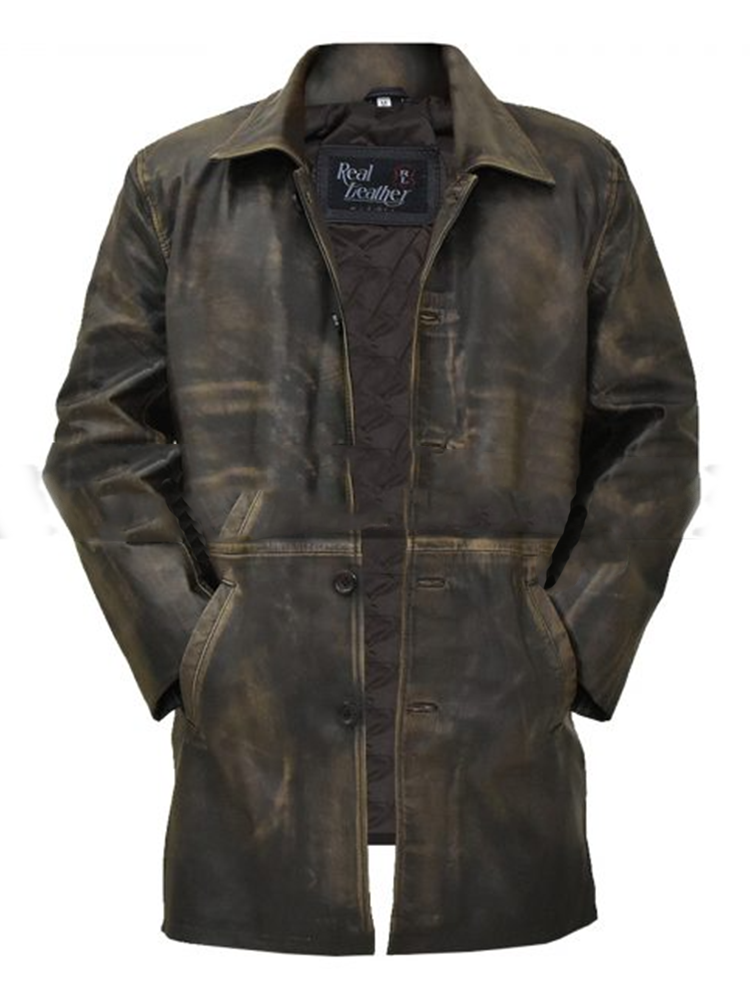 Mens Brown Distressed Lather Trench Coat