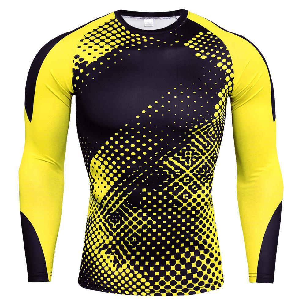 Men's high neck fitness long sleeve sports running long sleeve stretch quick-drying T-shirt