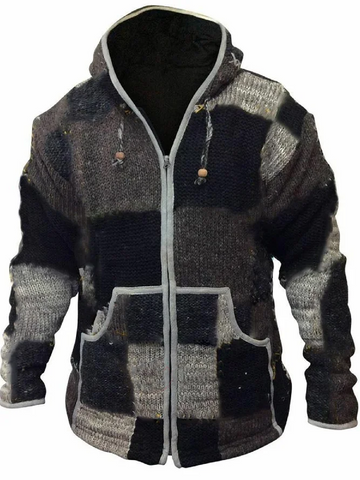Zipper color matching casual mens winter hooded sweater