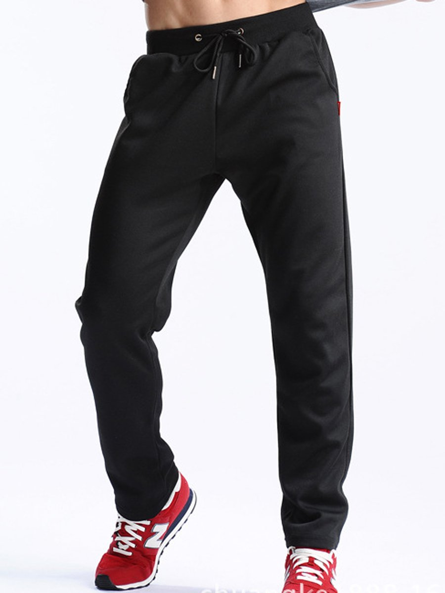 Plain Elastic Waist Straight Men's Casual Sport Pants