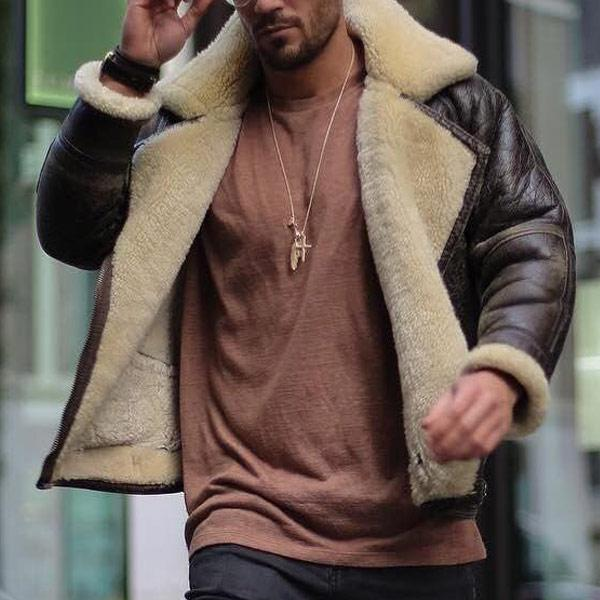 Men Fashion Lapel Long Sleeve Pockets Jacket Coats