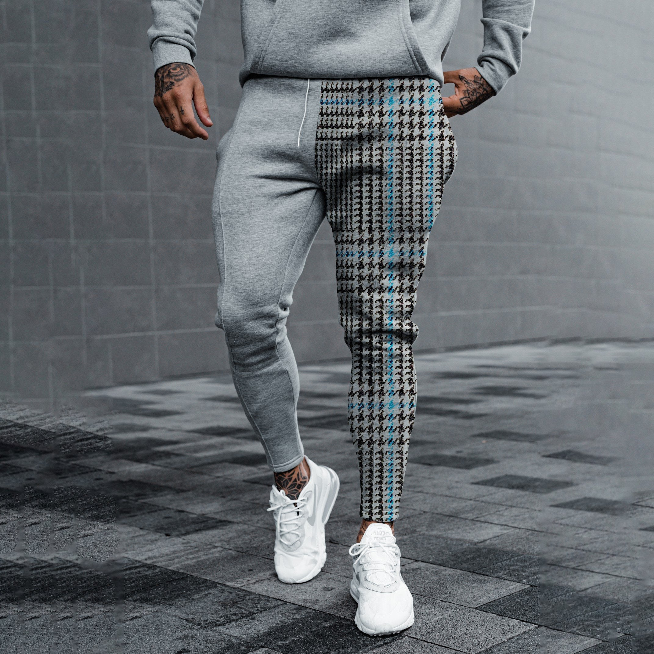 Mens fashion pure gray stitching plaid sports trousers