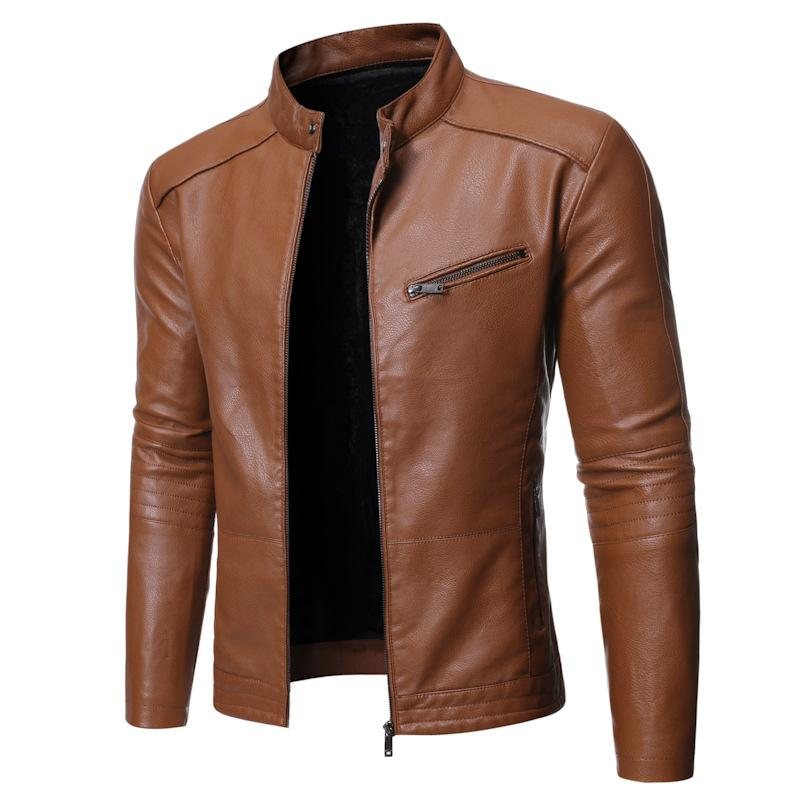 Stand collar wild personality men's leather jacket