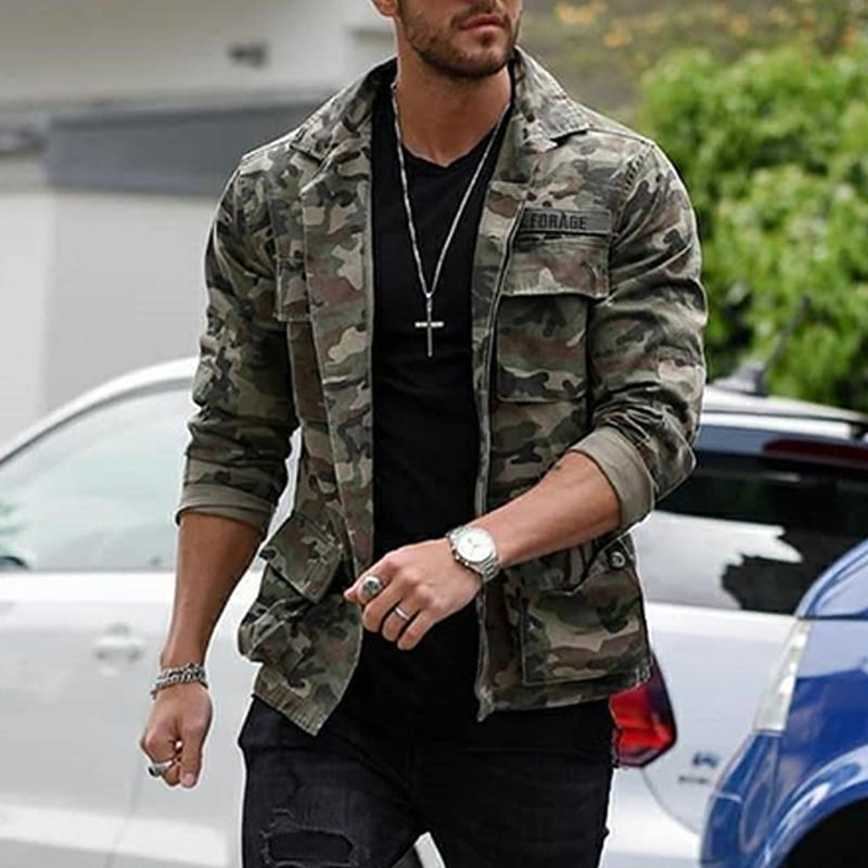 Mens fashion camouflage print casual jacket