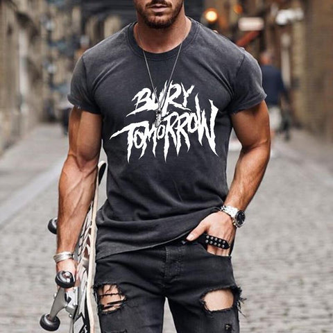 Men's Fashion Casual Short Sleeve Bury Tomorrow Printed T-shirt