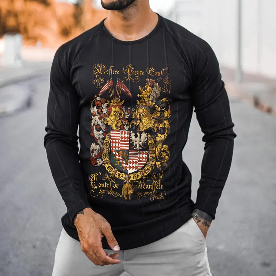 Armorial Plates Printed Long Sleeve T-shirt