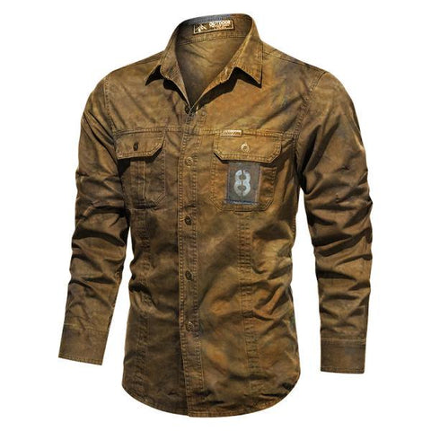 Mens Pure Cotton Washed Outdoor Wear-resistantcasual shirt