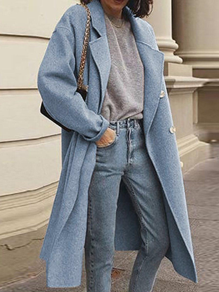 Solid Color Woolen Double-breasted Coat