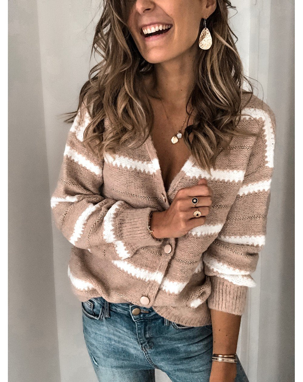 Women's Casual Deep V-Neck Long Sleeve pattern Loose Sweater Cardigan