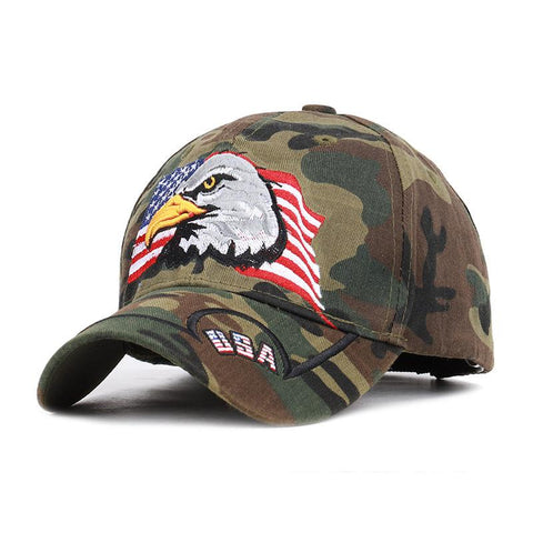 Flag Eagle Embroidered Jungle Camo Cap