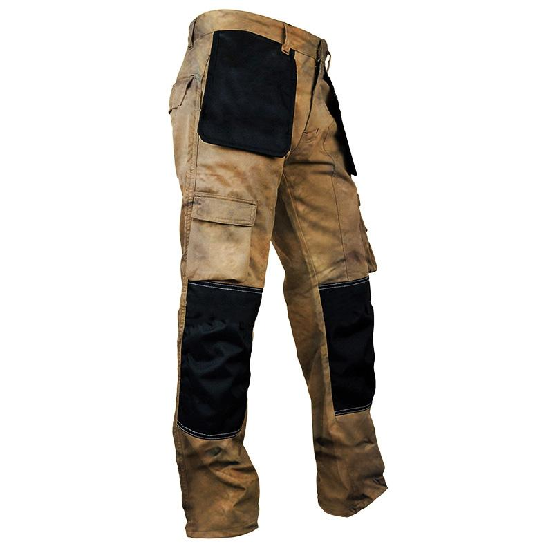 Blue pleated cargo pants