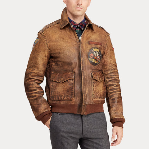 Mens casual vintage leather jacket